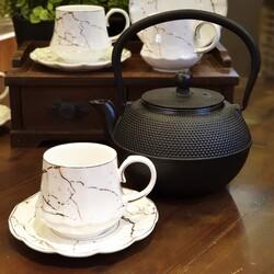 taşev - Linden Siyah 1200 ml Kırmızı Döküm Çaydanlık