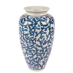 Mikasa Moor - Mavi Beyaz Desen Seramik Vazo