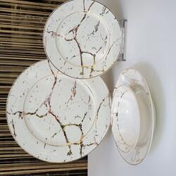 Dekor Arya - Beyaz Mermer Desen 24 Parça Yemek Takımı