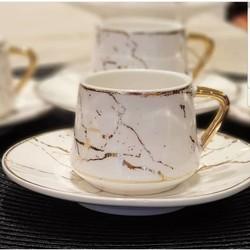 Mermer Desen Altılı Kahve Fincan Takımı - Thumbnail