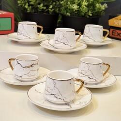 Dekor Arya - Mermer Desen Altılı Kahve Fincan Takımı