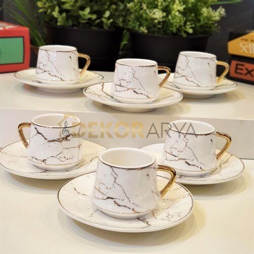 Mermer Desen Altılı Kahve Fincan Takımı