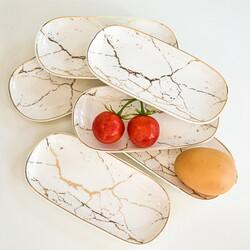 Deco Vien - Mermer Desen Dikdörtgen Meze Kahvaltı tabağı