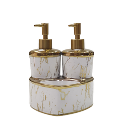 Dekor Arya - Mermer Desen Sıvı Sabunluk & Deterjanlık Altın Beyaz