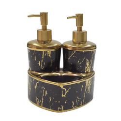 Dekor Arya - Mermer Desen Sıvı Sabunluk & Deterjanlık Altın Siyah