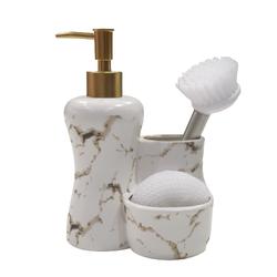 Dekor Arya - Mermer Desen Sıvı Sabunluk & Deterjanlık Beyaz Altın