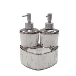 Dekor Arya - Mermer Desen Sıvı Sabunluk & Deterjanlık Gümüş Beyaz