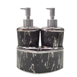 Dekor Arya - Mermer Desen Sıvı Sabunluk & Deterjanlık Gümüş Siyah