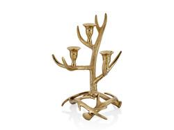 Lamedore - Oliver Ağaç Dalı Desenli 3'lü Gold Mumluk 23x23x34 Cm