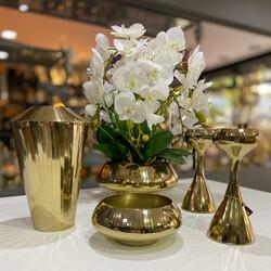 Dekor Arya - Orkideli Gold Metal 5 Parça Salon Takımı