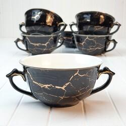 Dekor Arya - Porselen 6lı Kulplu Kase Siyah