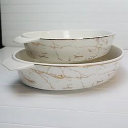 Dekor Arya - Porselen Beyaz Mermer Desen 2li Fırın Seti