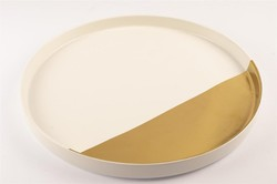 Mikasa Moor - Porselen Altın-Beyaz Büyük Yuvarlak Servis Tabağı
