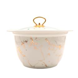 Dekor Arya - Porselen Fırın Kabı Beyaz Mermer Desen 27*16Cm