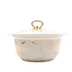 Dekor Arya - Porselen Fırın Kabı Beyaz Mermer Desen 28*12Cm