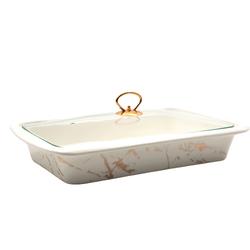 Dekor Arya - Porselen Fırın Kabı Beyaz Mermer Desen 37*24Cm
