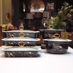 Dekor Arya - Porselen Siyah Mermer Desen 5'li Fırın Seti