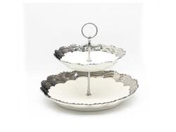 Dekor Arya - Yuvarlak Katlı Kurabiyelik Gümüş 23 Cm