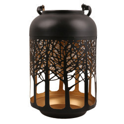 Lucky Art - Siyah Gold Ağaçlı Küçük Fener