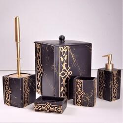 Dekor Arya - Siyah-Gold Beş Parça Banyo Takımı