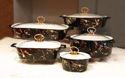 Dekor Arya - Siyah-Gold Beşli Fırın Sunum Tencere Takımı