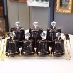 Dekor Arya - Siyah-Gold Mermer Desen Gold Standlı Baharat Takımı