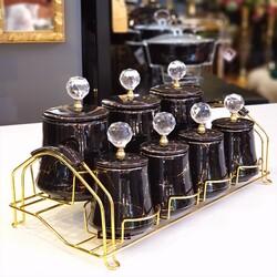 Siyah-Gold Mermer Desen Gold Standlı Baharat Takımı - Thumbnail