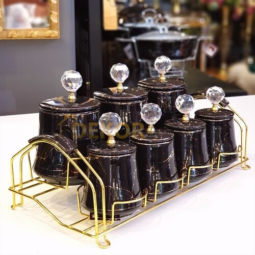 Siyah-Gold Mermer Desen Gold Standlı Baharat Takımı