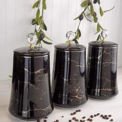 Dekor Arya - Siyah Mermer 25 Cm Porselen Kavanoz Seti