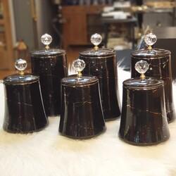 Dekor Arya - Siyah Mermer 6'lı Porselen Kavanoz Seti
