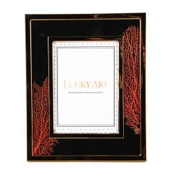 Dekor Arya - Siyah Üzeri Kırmızı Mercanlı Çerçeve