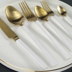 BRONDOFF - Stil 36 Parça Gold Çatal Kaşık Takımı Beyaz