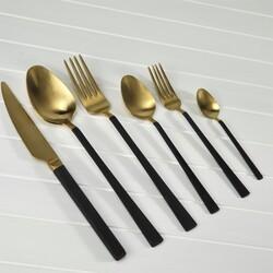 BRONDOFF - Stil 36 Parça Gold Çatal Kaşık Takımı Siyah