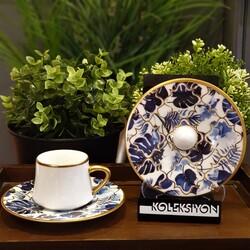 Koleksiyon - Altılı Sufi Türk Kahvesi Seti Amazon Mavi