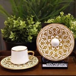 Koleksiyon - Sufi Türk Kahvesi Takımı 6'lı Lale Altın