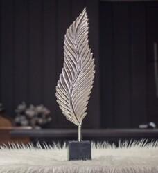 Sumac Gümüş Renk Yaprak Şekilli Dekoratıf Obje - Thumbnail