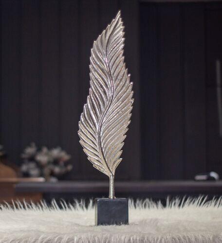 Sumac Gümüş Renk Yaprak Şekilli Dekoratıf Obje