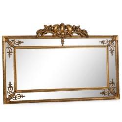 Dekor Arya - Taçlı İç İşlemeli Altın Uzun Ayna