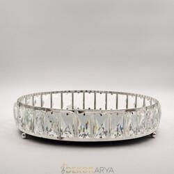 Deco Vien - Taşlı Tepsi Yuvarlak Gümüş 34 cm