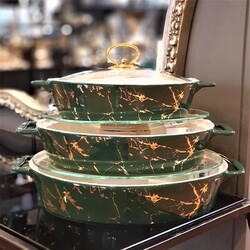 Deco Vien - Yeşil Gold 3Lü Oval Sunum Tenceresi