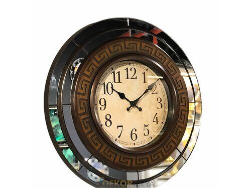 Yuvarlak Aynalı Eskitme Bronz Duvar Saati 50 Cm