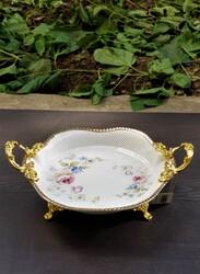 Dekor Arya - Yuvarlak Güllü Gold Ayaklı Porselen Servis