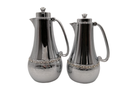 Zavaroski Taşlı İkili Gümüş Termos - Thumbnail